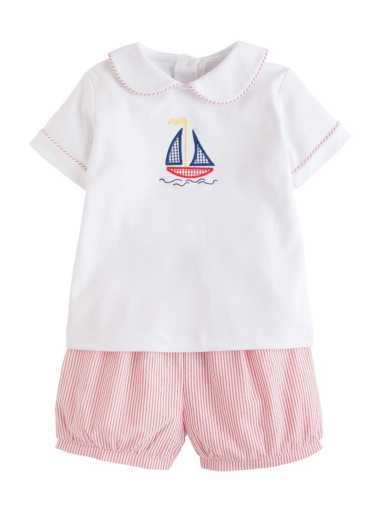Applique Peter Pan Short Set - Sailboat - Born Childrens Boutique