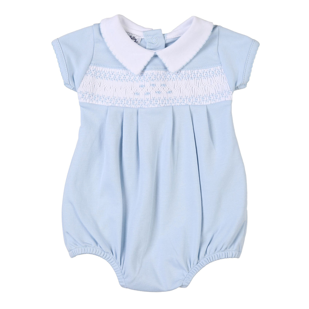 Mandy and Mason's Classics Blue Smocked Collared Bubble - Born Childrens Boutique