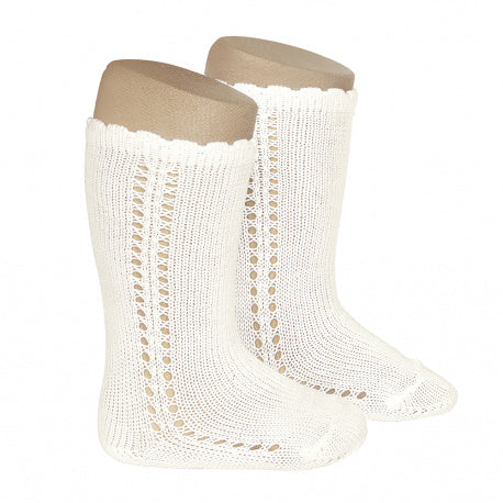 Side Crochet Knee Sock Cream - Born Childrens Boutique