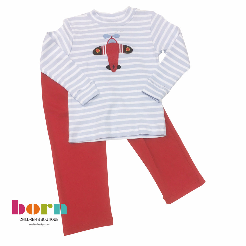 Airplane Applique Two Piece Set Blue Stripe with Red - Born Childrens Boutique