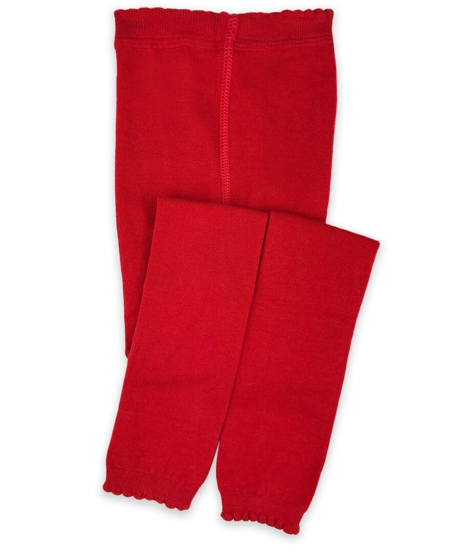Jeffries Scalloped Pima Cotton Tights Red - Born Childrens Boutique