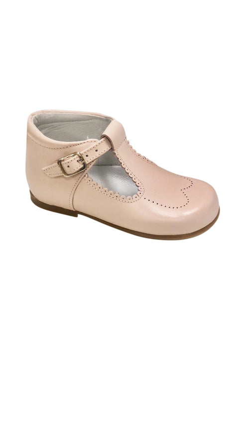 Baby Scalloped T Strap Light Pink