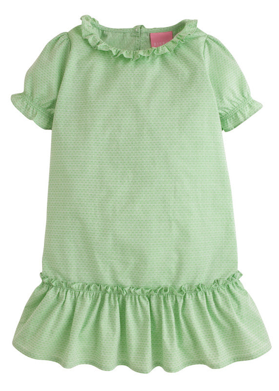 Bisby Samantha Dress Green Polka Dot - Born Childrens Boutique