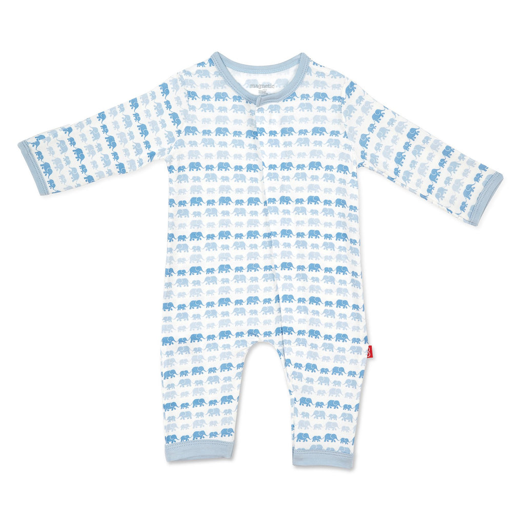 Magnetic Blue Dancing Elephants Modal Coverall - Boy Dancing Elephants - Born Childrens Boutique