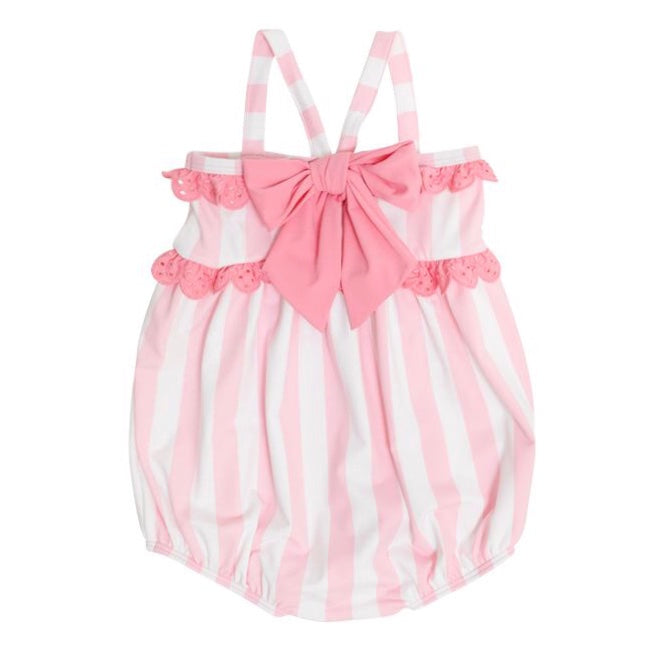 St. Bart's Bubble Bathing Suit w/ Snaps - Caicos Cabanna Stripe/Hamptons Hot Pink - Born Childrens Boutique