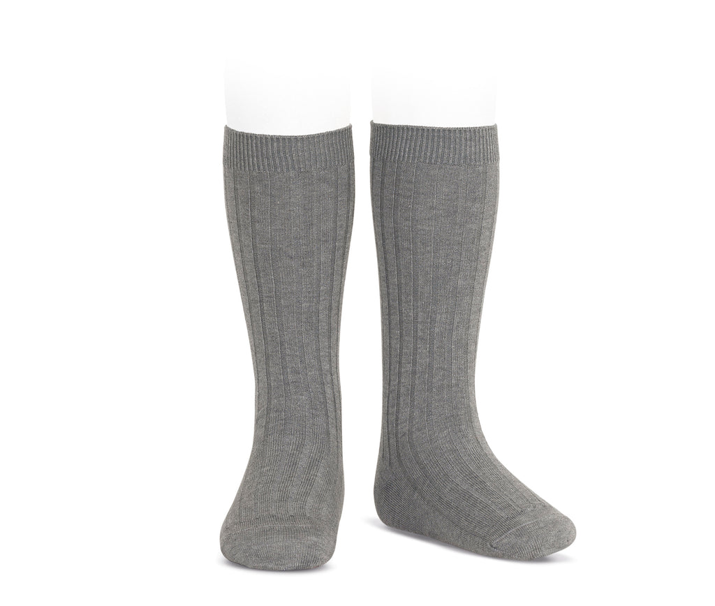Ribbed Knee Socks Charcoal - Born Childrens Boutique