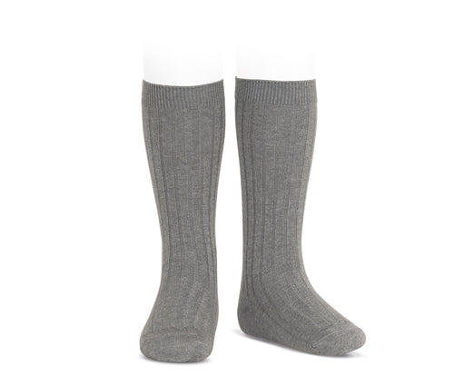 Ribbed Knee Socks Charcoal
