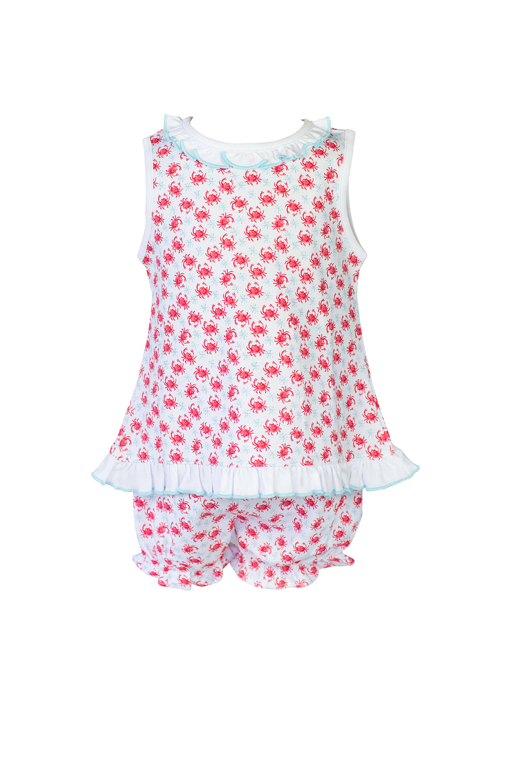 Pre-Order Crab - Girl Ruffle Sleeveless Bloomer Set - Born Childrens Boutique