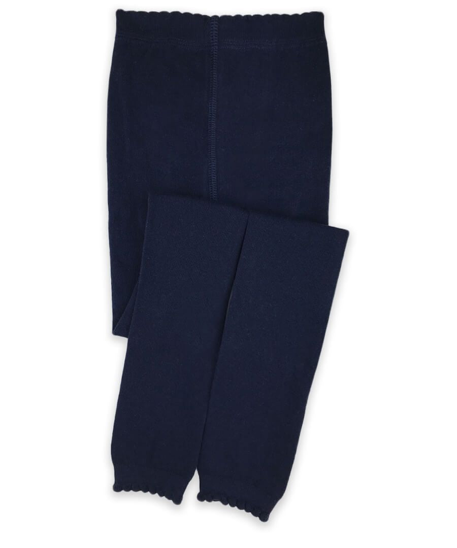 Jeffries Scalloped Pima Cotton Tights Navy - Born Childrens Boutique