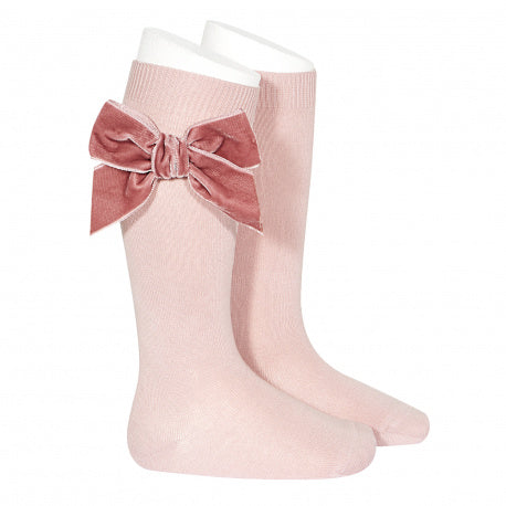 Knee Socks with Velvet Bow Rose - Born Childrens Boutique