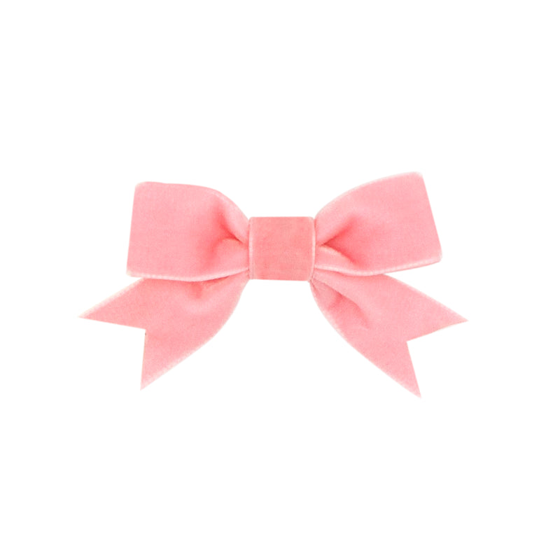 Wee Ones Blush Velvet Bowtie w/ Fancy Tail