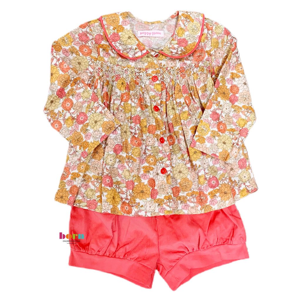 Smocked Top & Bloomer Set - Keenan Floral W Flamingo Cord Bloomer & Smocking - Born Childrens Boutique