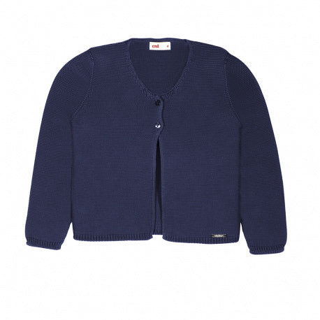 Garter Stitch Cardigan Navy - Born Childrens Boutique