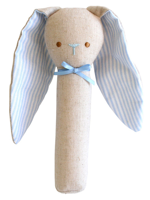 Bunny Rattle & Squeaker Linen Blue - Born Childrens Boutique