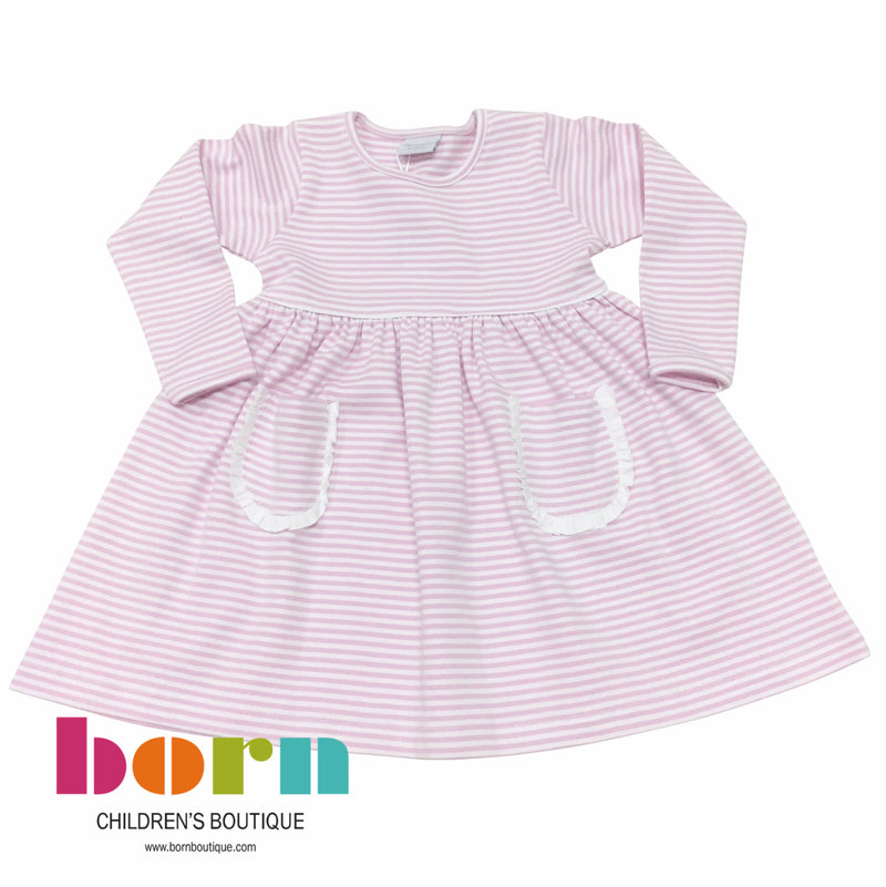 Pink Stripe Dress with White Ruffle - Born Childrens Boutique
