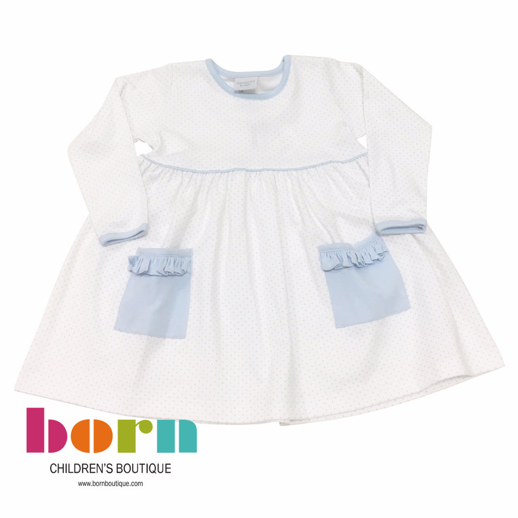 Blue Dot Dress with Blue Ruffle - Born Childrens Boutique