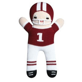 Maroon and White Football Player Doll - Born Childrens Boutique