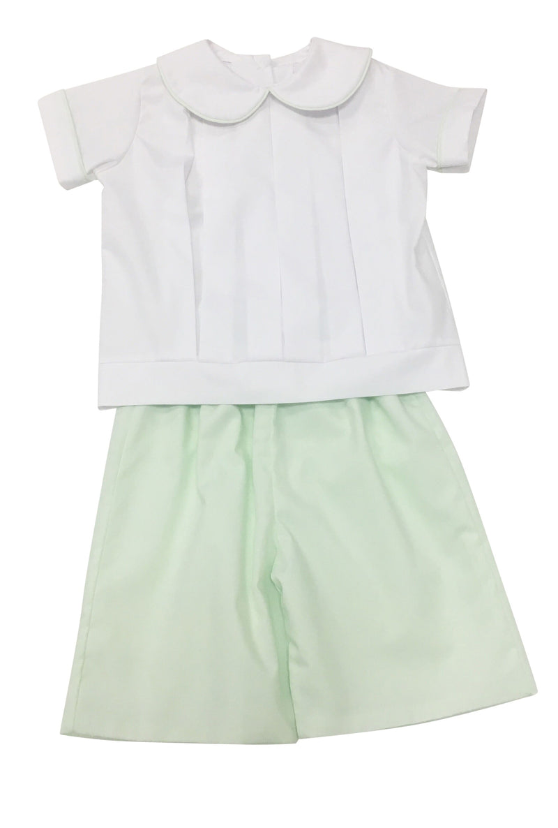 Heirloom White with Mint Peter Pan Short Set