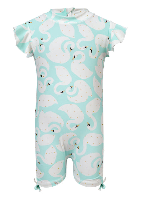 Swan Flutter Short Sleeve Sunsuit