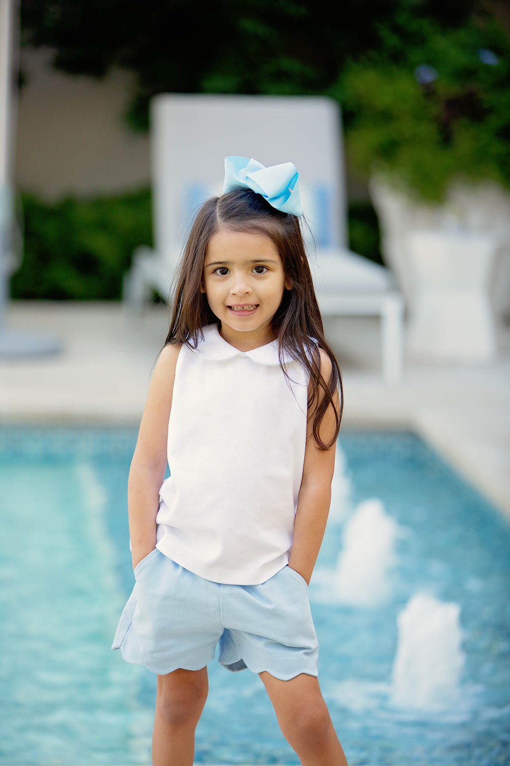 Pre-Order Girl Scallop Shorts - Blue - Born Childrens Boutique