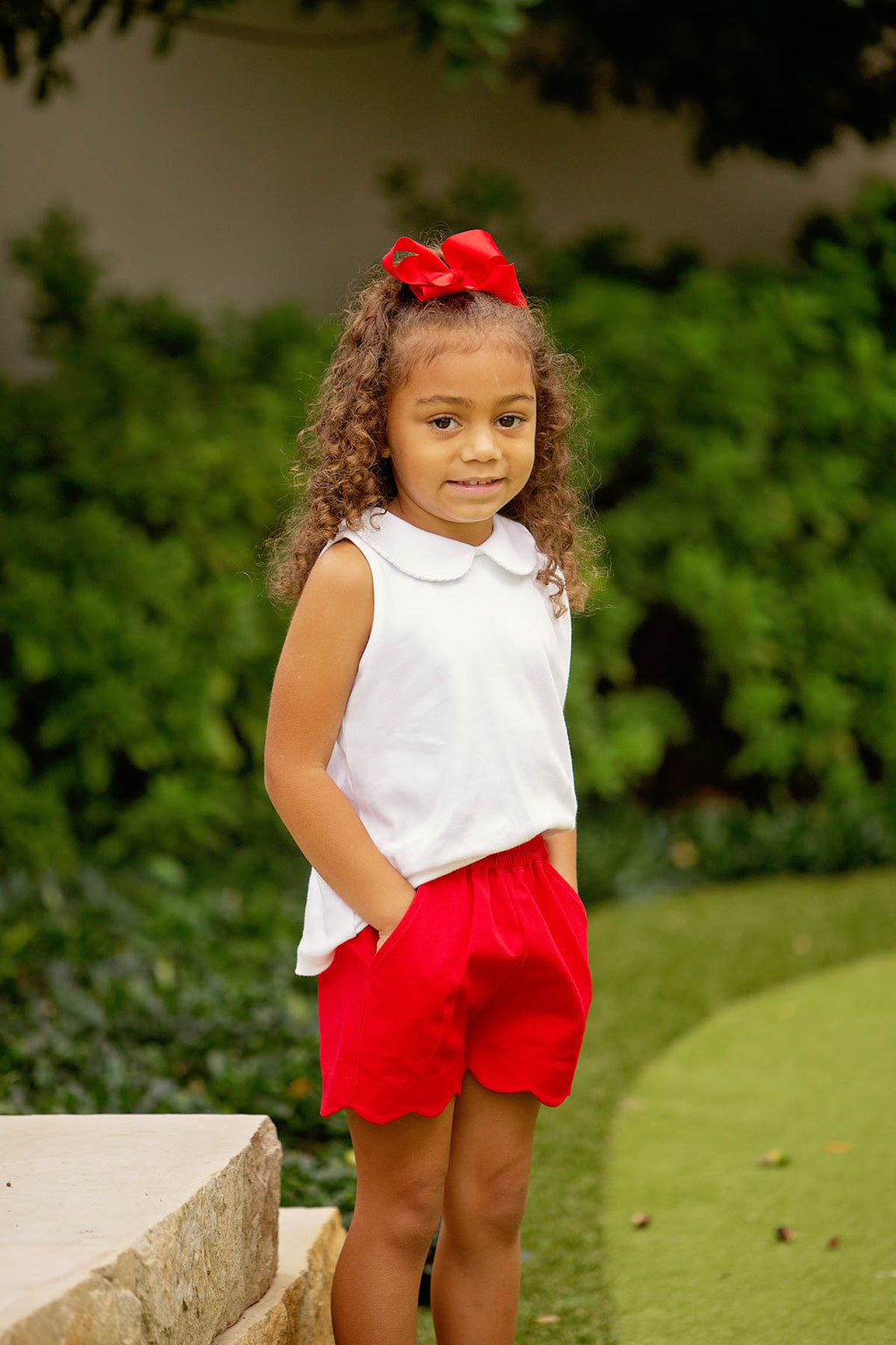Pre-Order Girl Scallop Shorts - Red - Born Childrens Boutique