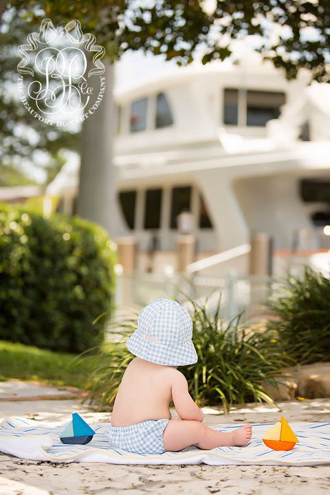 Beaufort Bonnet Blue Grand Gasparilla Gingham Bucket Hat -  Email to Order - Born Childrens Boutique