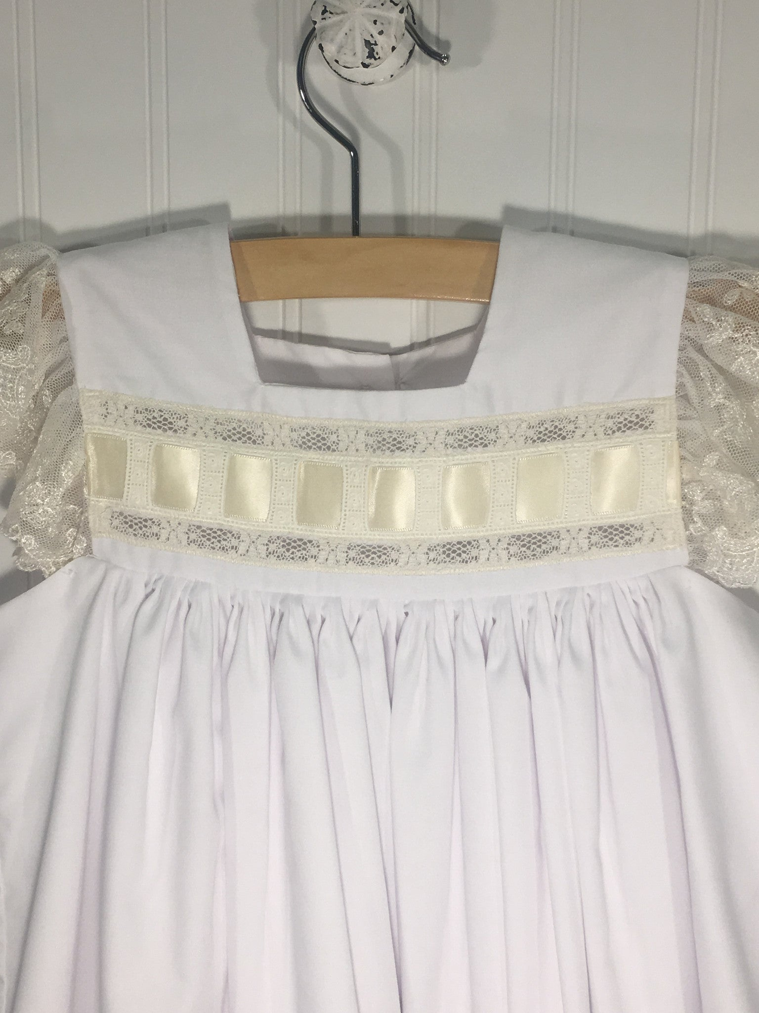Heirloom Sleeveless Dress White with Ecru - Born Childrens Boutique  - 2