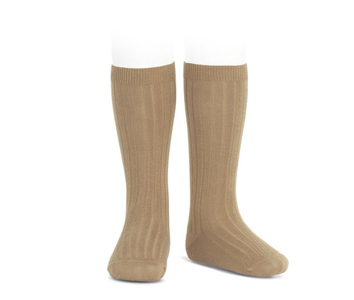 Ribbed Knee Socks Turron (Tan)