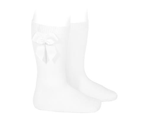 Knee Socks with Grosgain Bow White