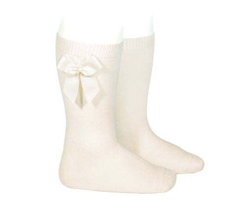 Knee Socks with Grosgain Bow Cream