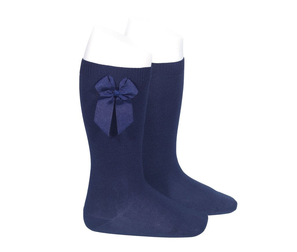 Knee Socks with Grosgain Bow Navy - Born Childrens Boutique