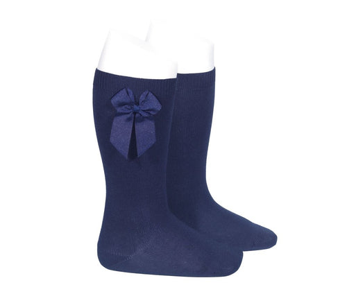 Knee Socks with Grosgain Bow Navy