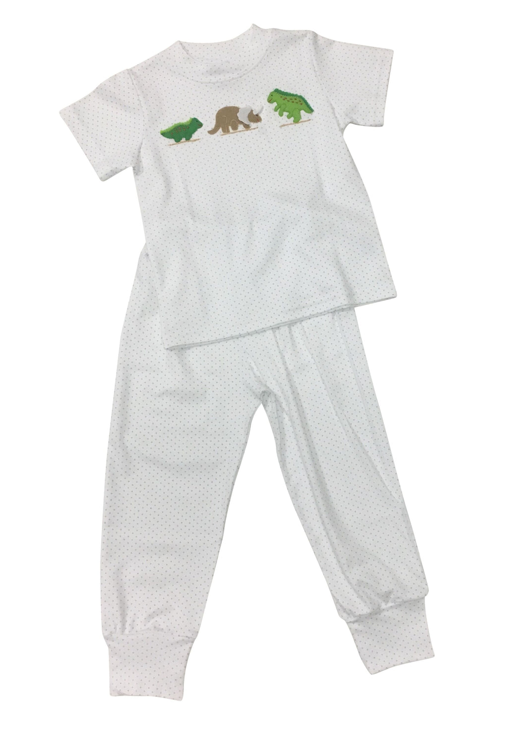 Boy Knit Jammies - Blue Dot Dinos - Born Childrens Boutique
