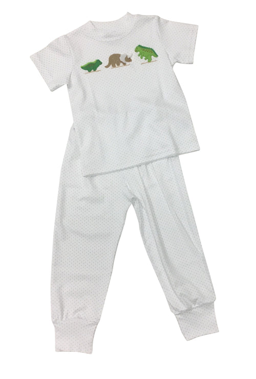 Boy Knit Jammies - Blue Dot Dinos