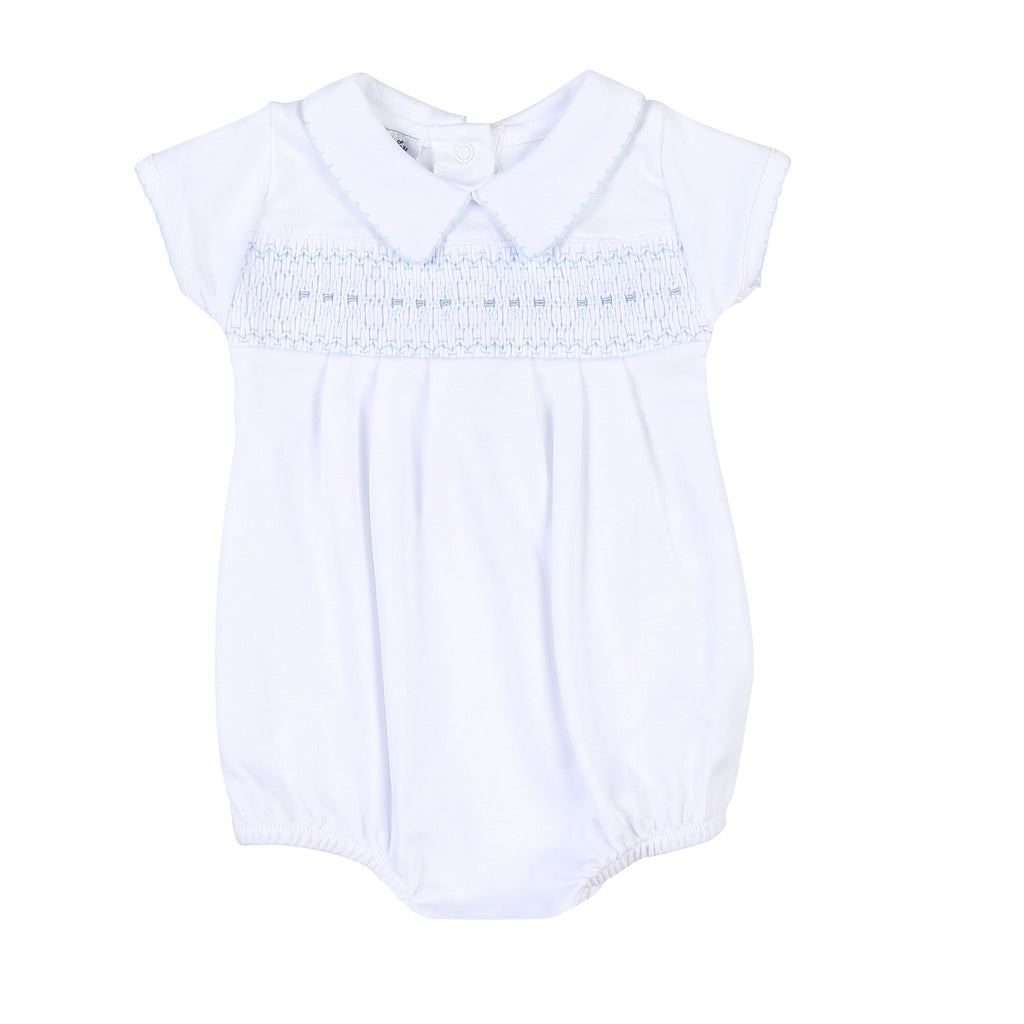 Becky and Ben's Classics Smocked Bubble Blue - Born Childrens Boutique