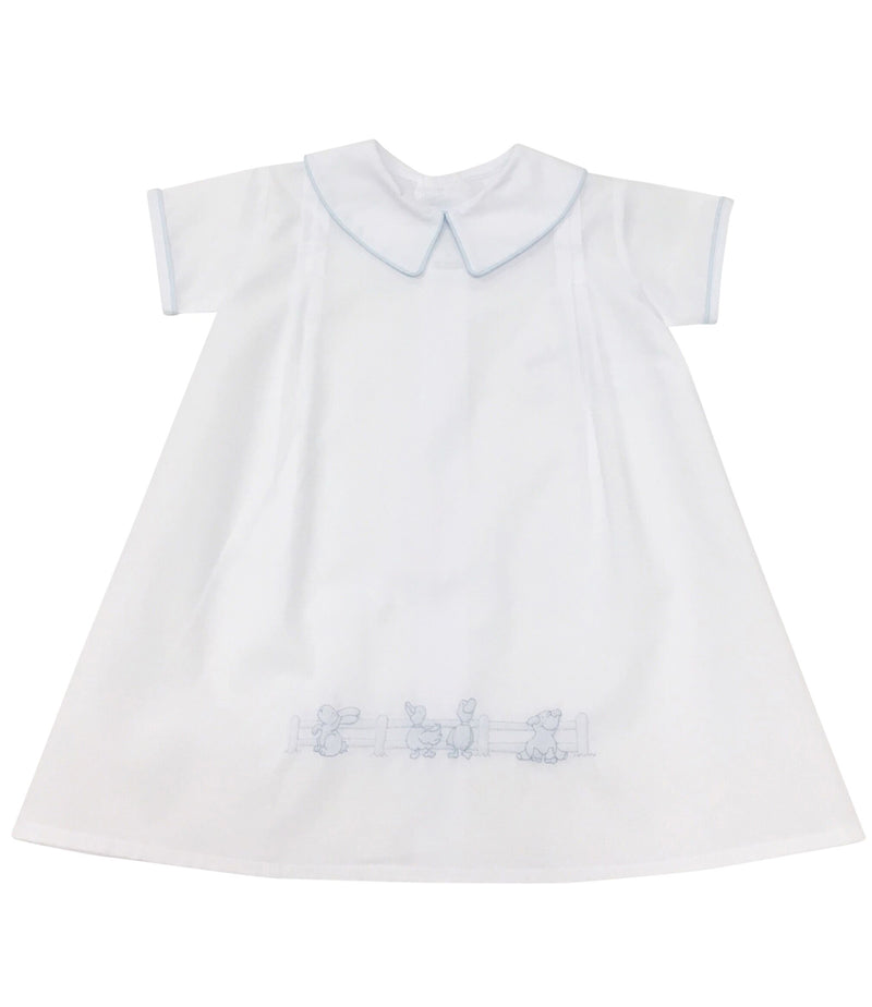 Daygown White with Blue Farm Animals - Born Childrens Boutique