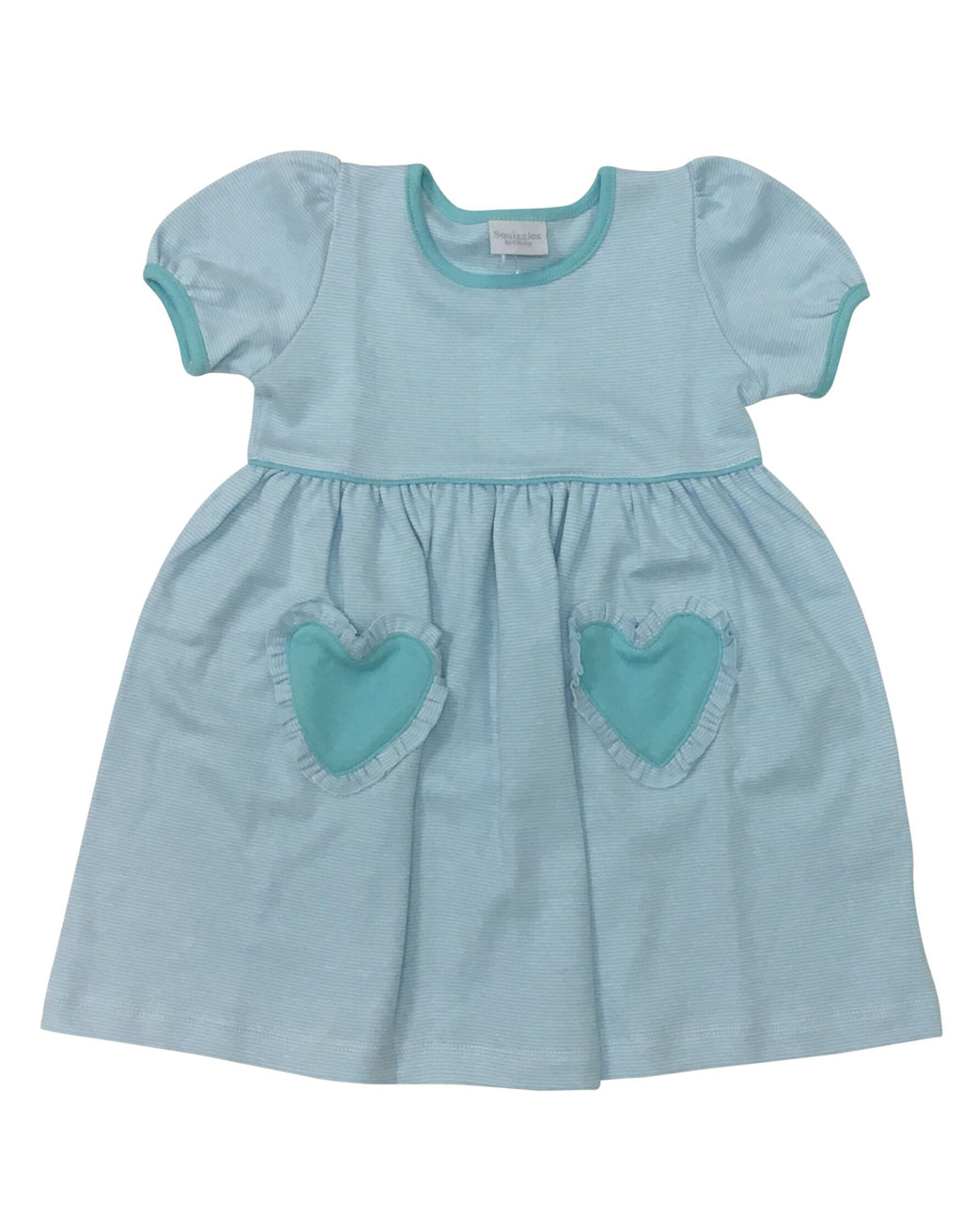 Aqua Stripe Dress with Aqua Heart Pocket - Born Childrens Boutique
