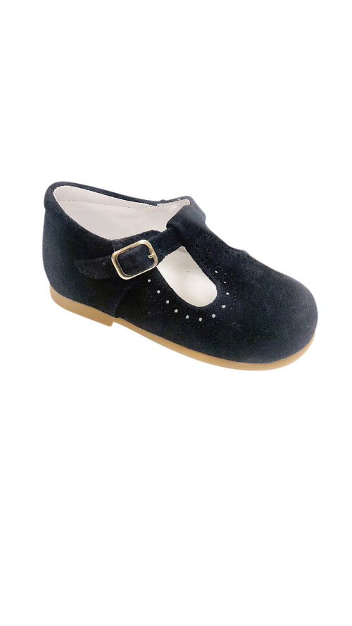 Baby T Strap Navy Suede