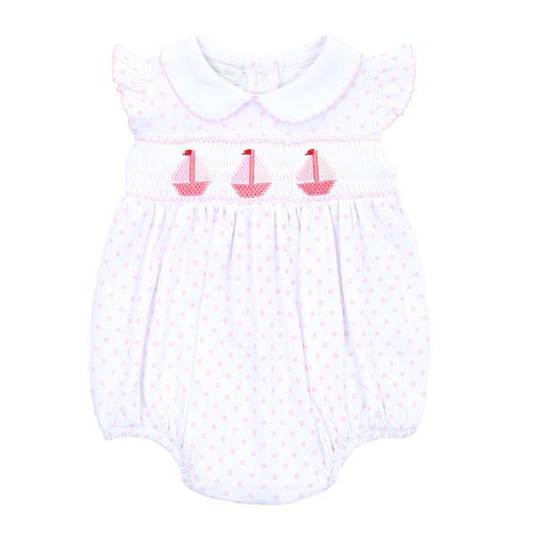 Classic Schooner Smocked Collared Flutters Bubble - Born Childrens Boutique