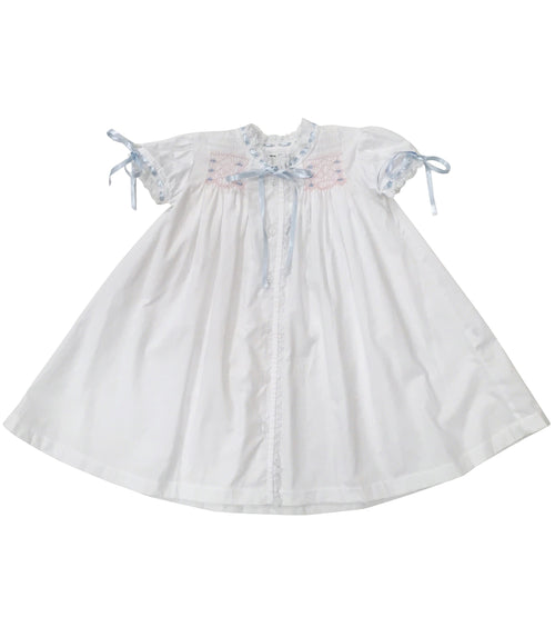 Smocked Blue and Pink Heirloom Gown