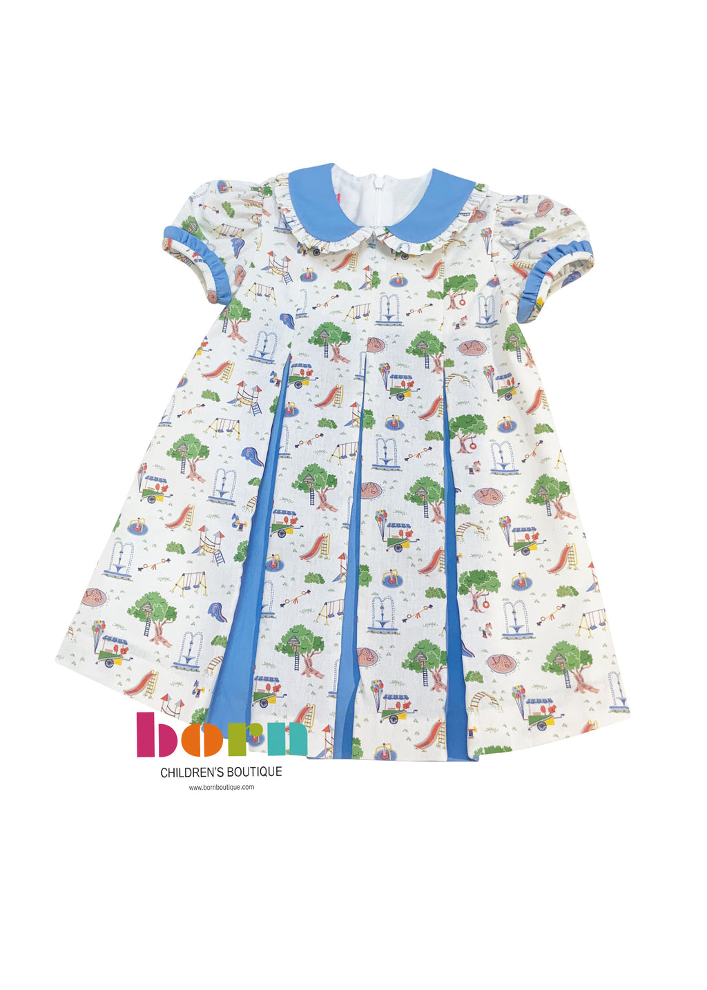 Dress W/Contrasting Pleats - Playground Print - Born Childrens Boutique