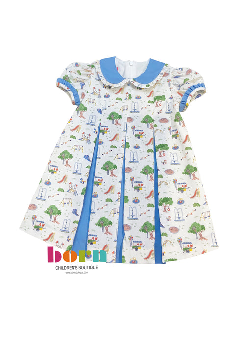 Dress W/Contrasting Pleats - Playground Print