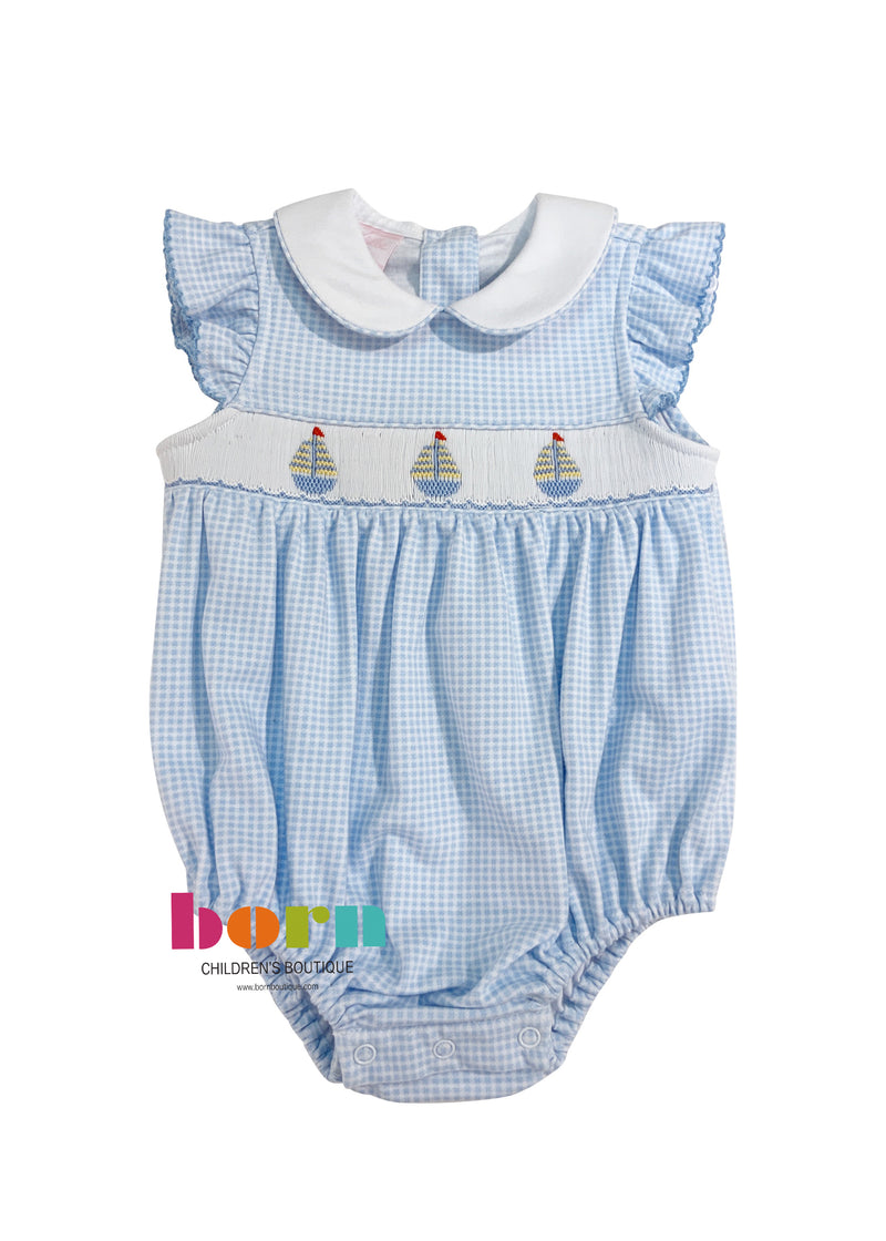 Sailboats - Girl Bubble with White Collar & Ruffle Sleeves - Lt Blue Mini Check