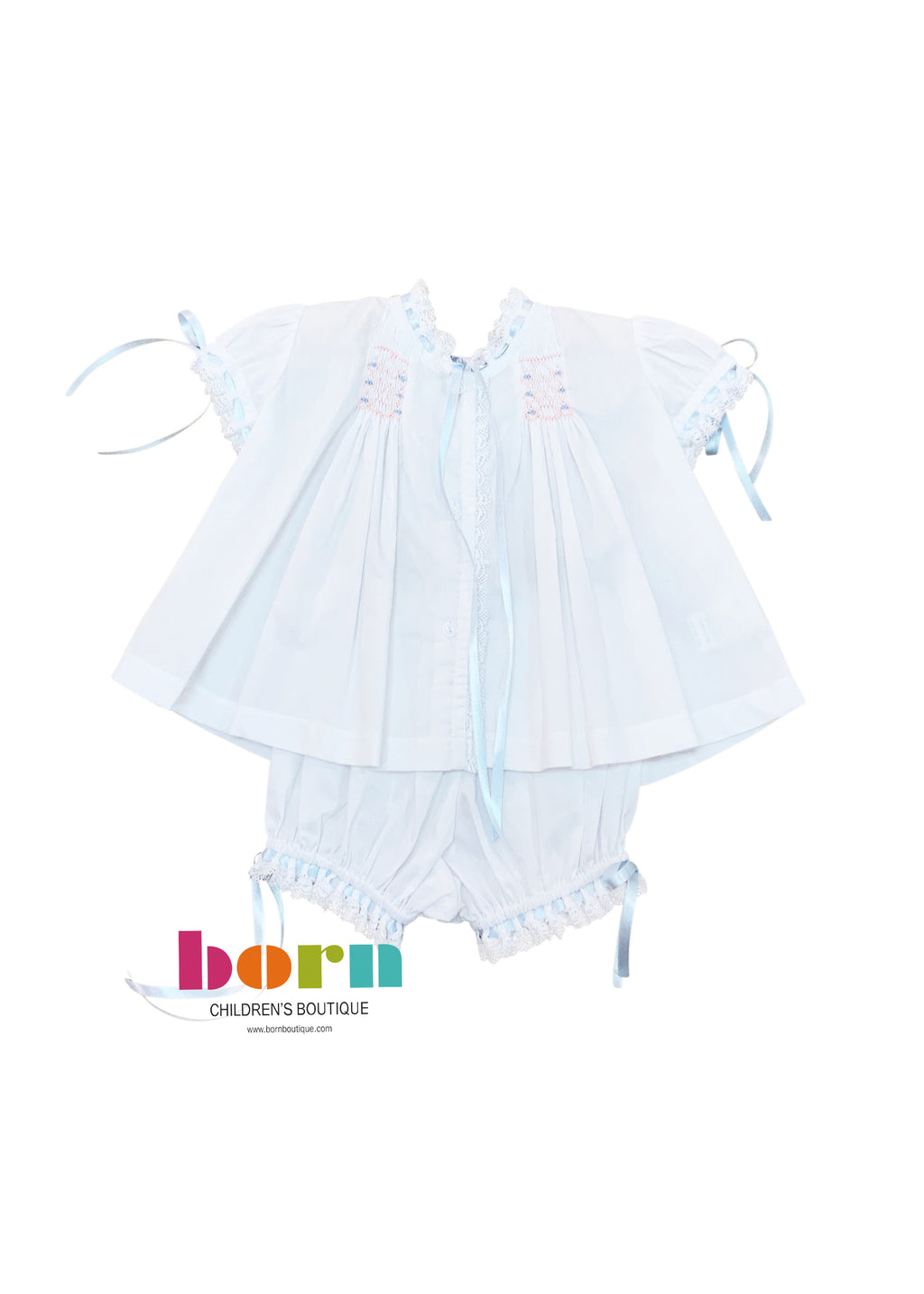 Heirloom Bloomer Set - White Batiste w/ Blue/Pink Smocking - Born Childrens Boutique