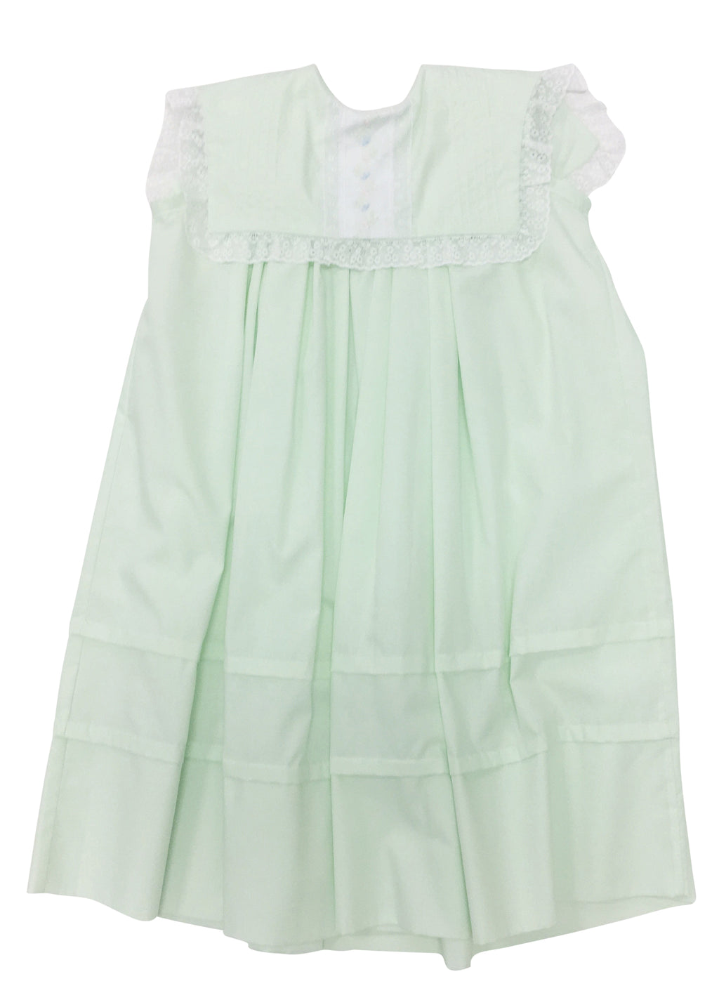 Heirloom Sleeveless Dress Mint with White Insertion - Born Childrens Boutique