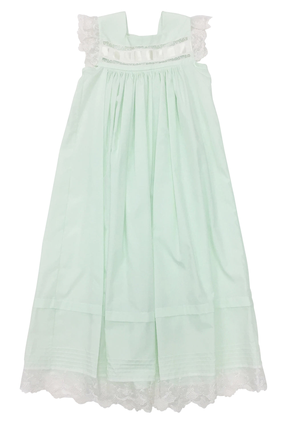 Heirloom Sleeveless Dress Mint with Ecru - Born Childrens Boutique