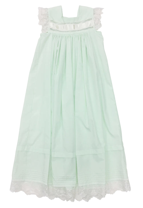 Heirloom Sleeveless Dress Mint with Ecru