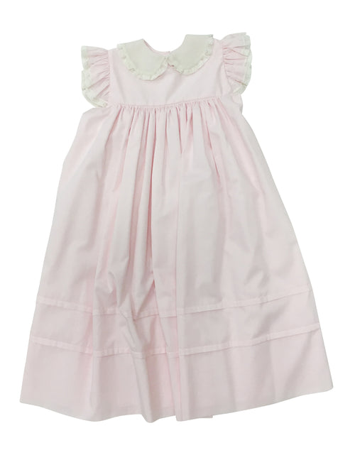 Heirloom Flutter Sleeve Dress Pink with Ecru Collar