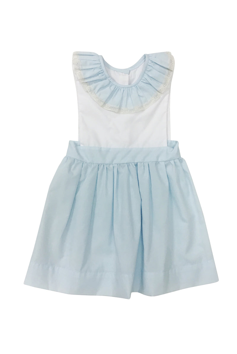 Heirloom Dress Blue with Ecru - Born Childrens Boutique