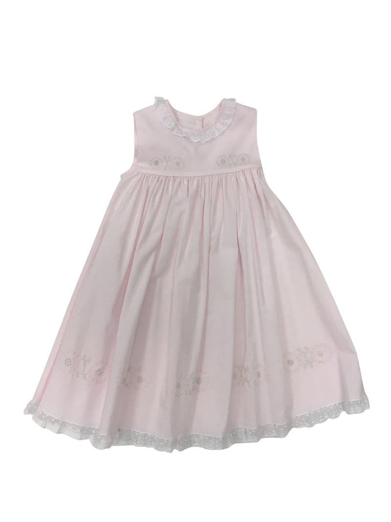 Heirloom Sleeveless Dress Pink/White - Born Childrens Boutique